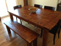 Farmhouse Table and bench. Made from pine 2x6, 2x4 and 4x4