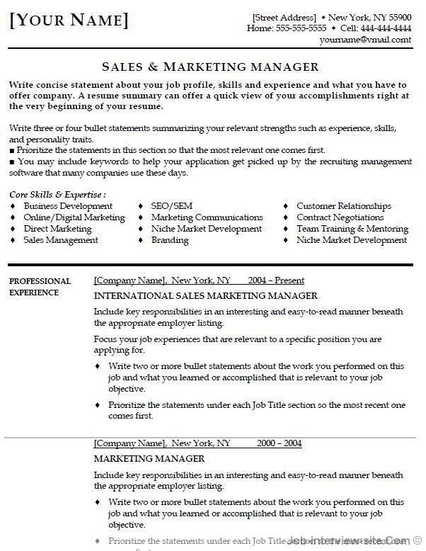 Marketing Manager Resume Objective - http\/\/jobresumesample - marketing director resume sample