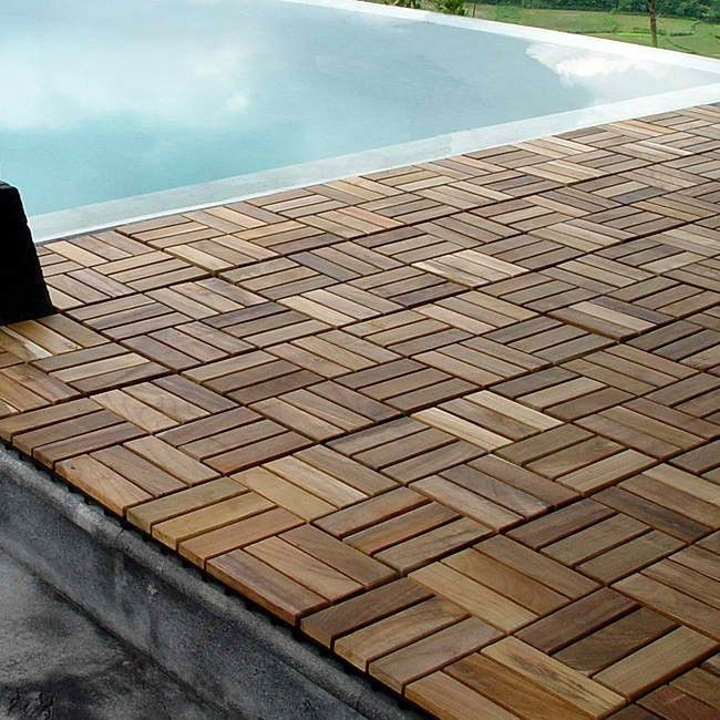 Wood Teak Flooring Interlocking Deck Tiles Pool Patio Hot