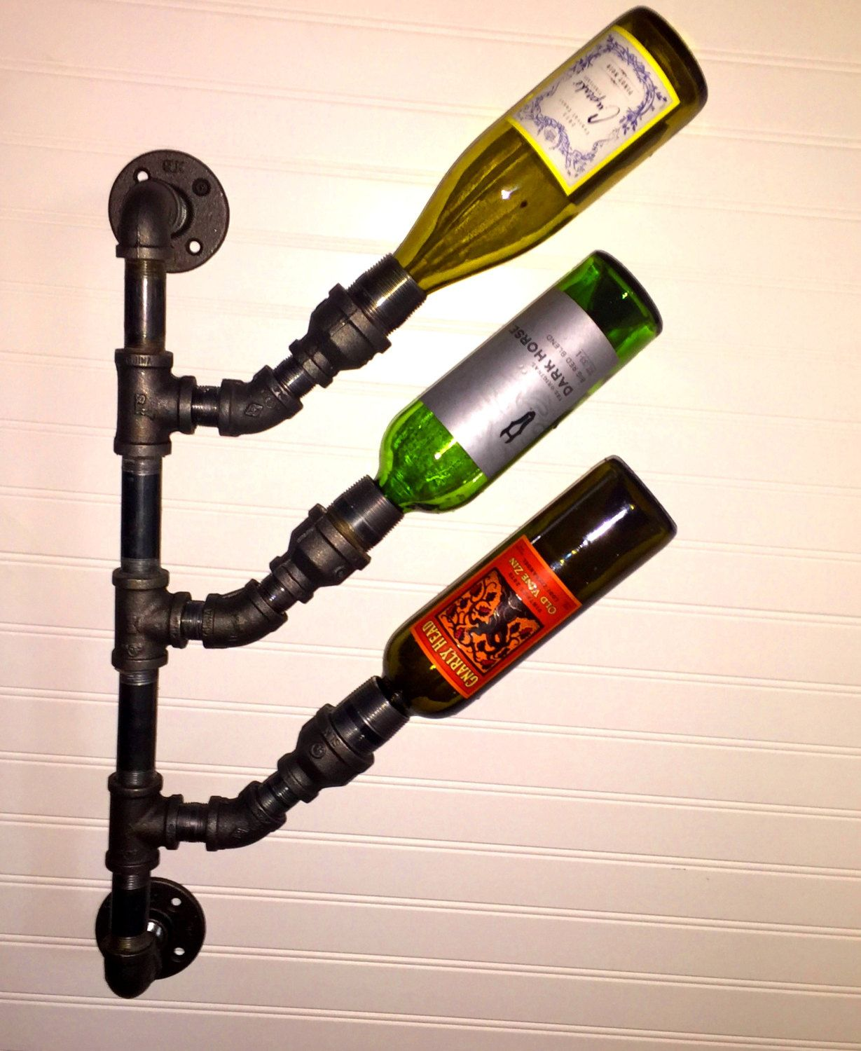 Iron Wine Rack Wall Mounted Industrial Black Pipe Wine Rack Bottle Holder Steampunk