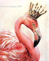 Flamingo art Pink Flamingo wall art Bird print by
