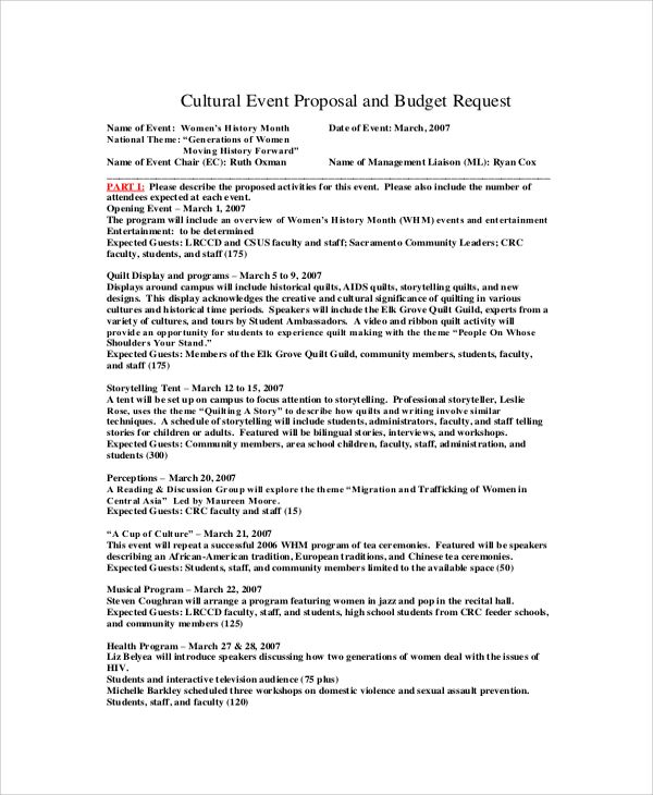 Sample Event Proposal Template - 21+ Free Documents in PDF, Word - event agenda sample