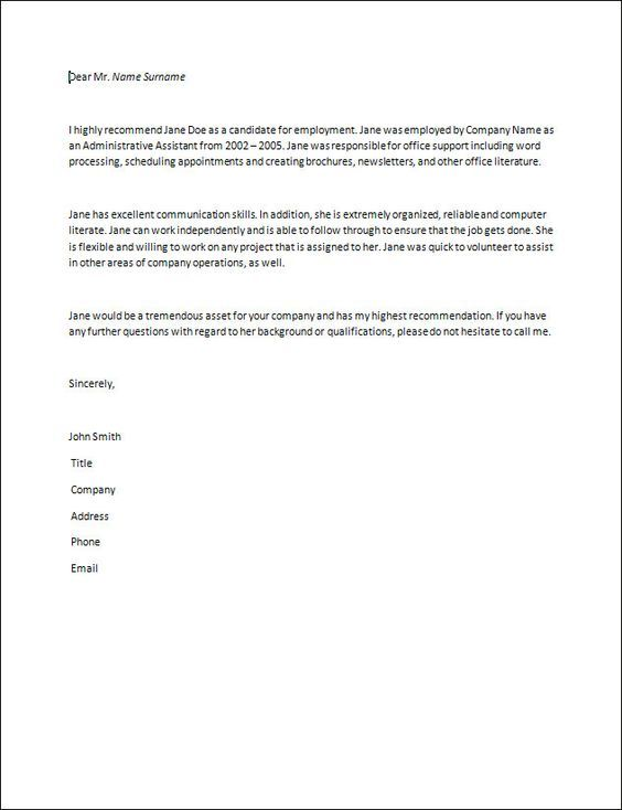 letter of recommendation samples recommendation letter How to - letter of reference
