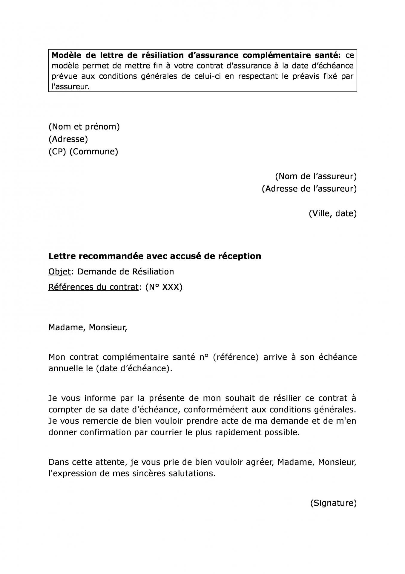 modele lettre resiliation assurance darty