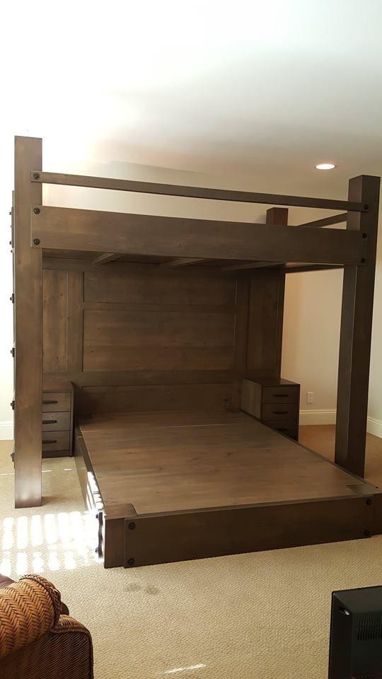 Custom Full XL loft bed over queen platform bed. Features