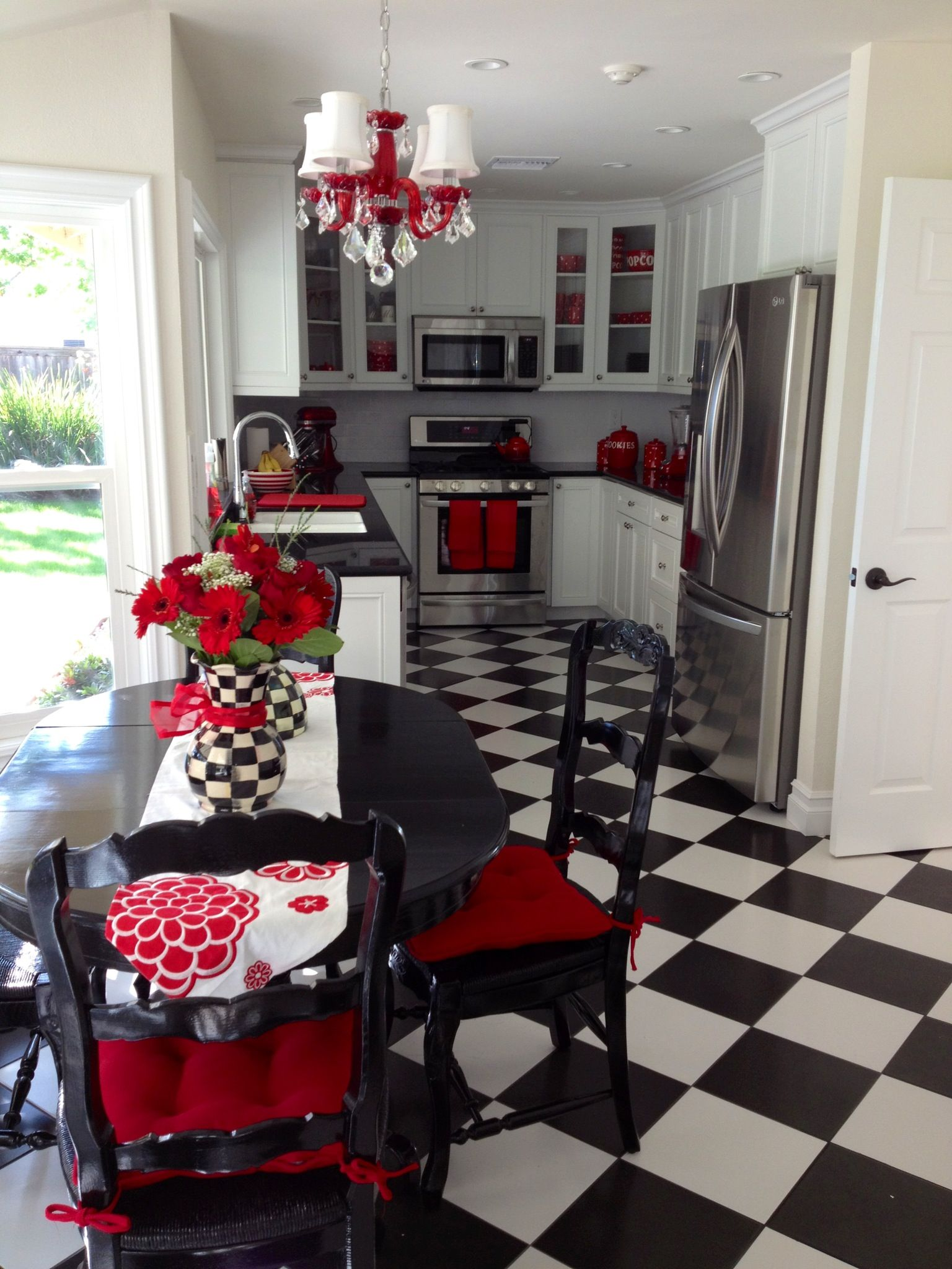 Red Accents My Fun And Unique Black And White Kitchen With Red Accents