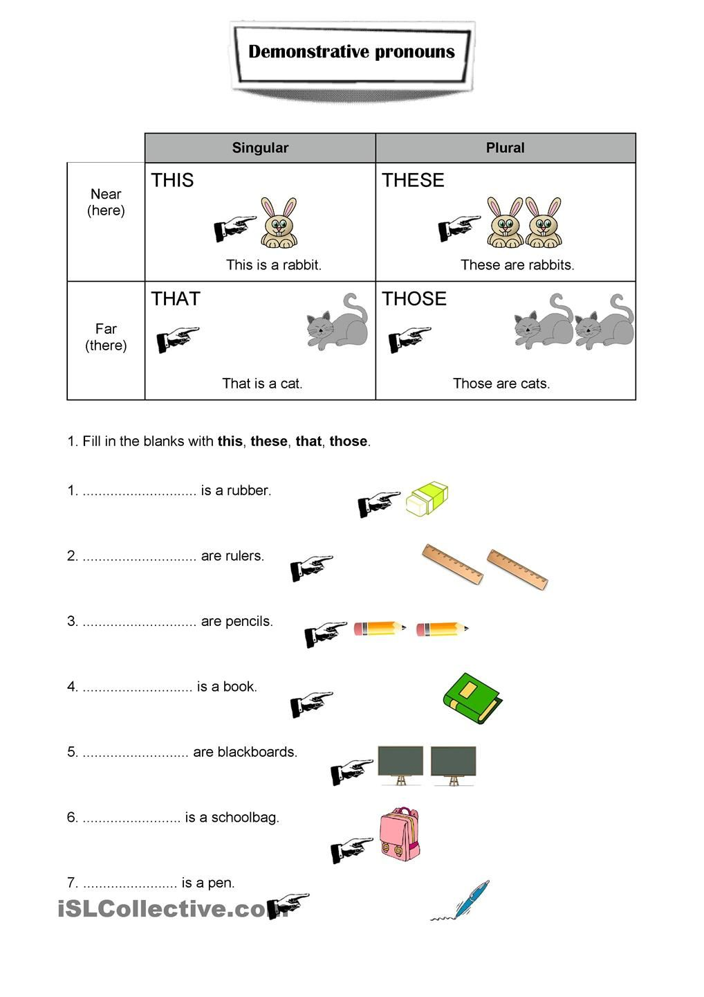 Demonstrative Adjectives | Worksheets, English and Spanish