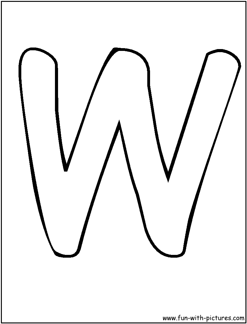 Letter w coloring pages -  Letters W Coloring Page Bubble Download