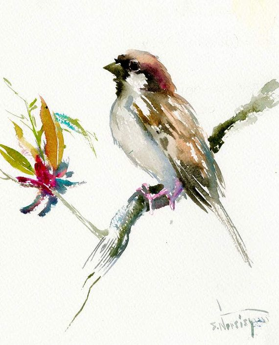 House Sparrow Male, Bird painting, original one of a kind