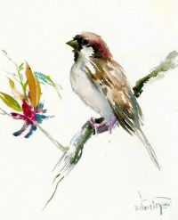 House Sparrow Male, Bird painting, original one of a kind ...