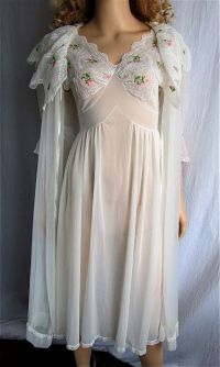 Vintage Peignoir Nightgown Set XS/SM Bridal Lingerie ...