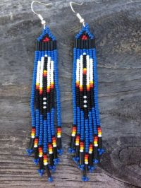 """Native American Style 3 3/4""""long Blue Beaded Feather ..."""