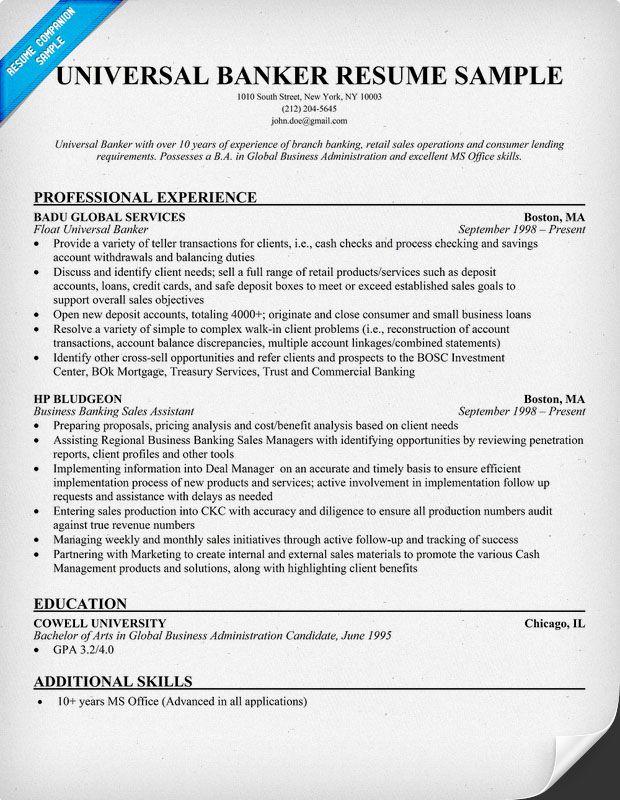 Universal Banker Resume | kicksneakers.co