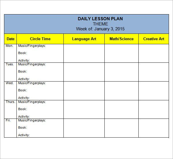 preschool lesson plan themes Lesson Plan Templates Pinterest - preschool lesson plan template