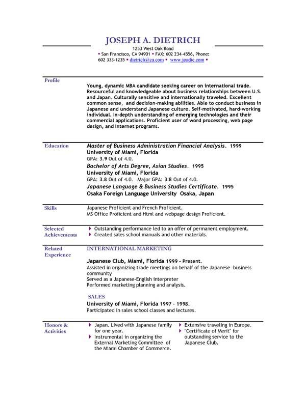 Simple Student Resume Format First Resume Template For Teenagers - free download biodata format