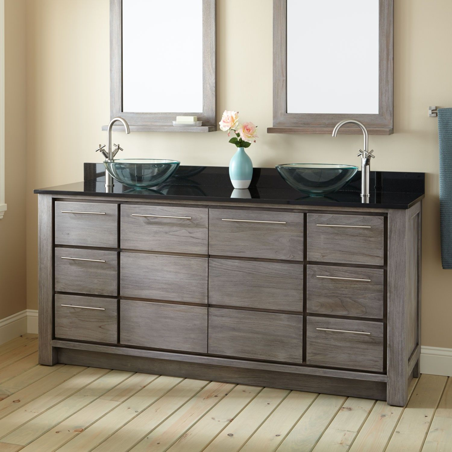Two Sink Vanities 72 Quot Venica Teak Double Vessel Sinks Vanity Gray Wash