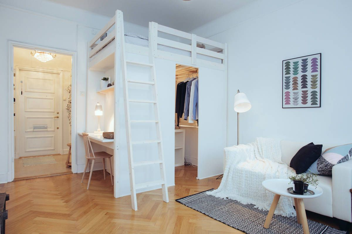 Beds For Studio Apartments Studio Apartment With Loft Bed And Clever Storage Studio
