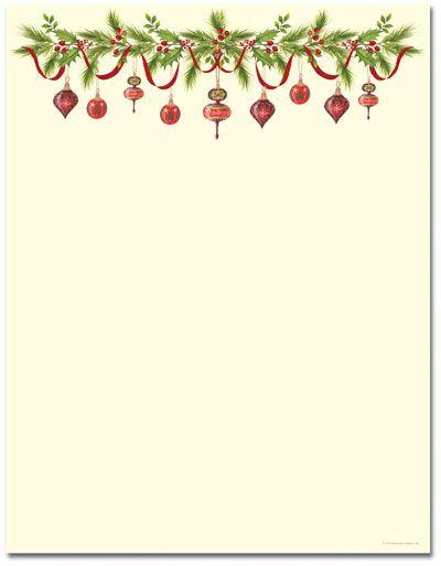 Grandmau0027s Ornaments Letterhead Holiday Papers Pinterest - christmas letterhead templates word