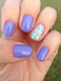Shellac nails - wisteria haze and tinkerbell glitter ...