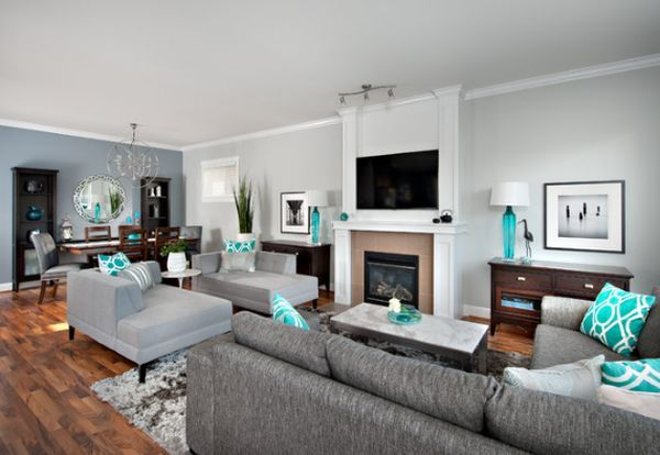 modern-living-room-with-grey-furniture-and-turquoise-accents - grey and turquoise living room
