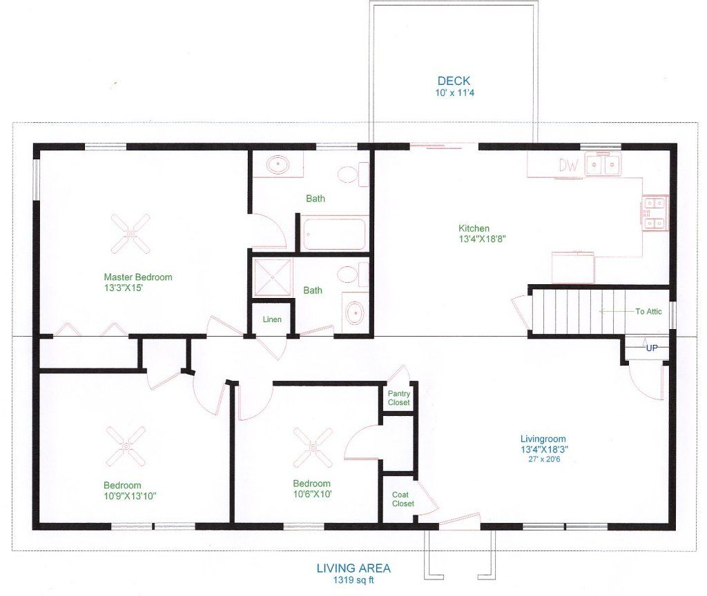 Simple 4 Bedroom Floor Plans Simple One Floor House Plans Ranch Home Plans House