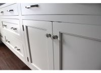 Shaker white inset cabinets in Dove White, exposed hinges