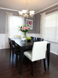 Chair rail molding divides two-toned walls in this neutral ...