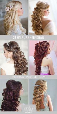 42 Half Up Half Down Wedding Hairstyles Ideas   Curly ...
