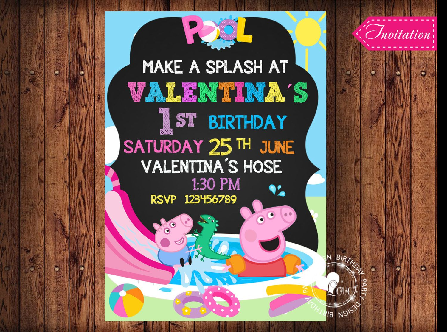 La Piscina De Peppa Pig Peppa Pig Pool Party Invitation Pool Party Por