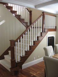 Maybe to update stair railing to complement mocha hardwood ...