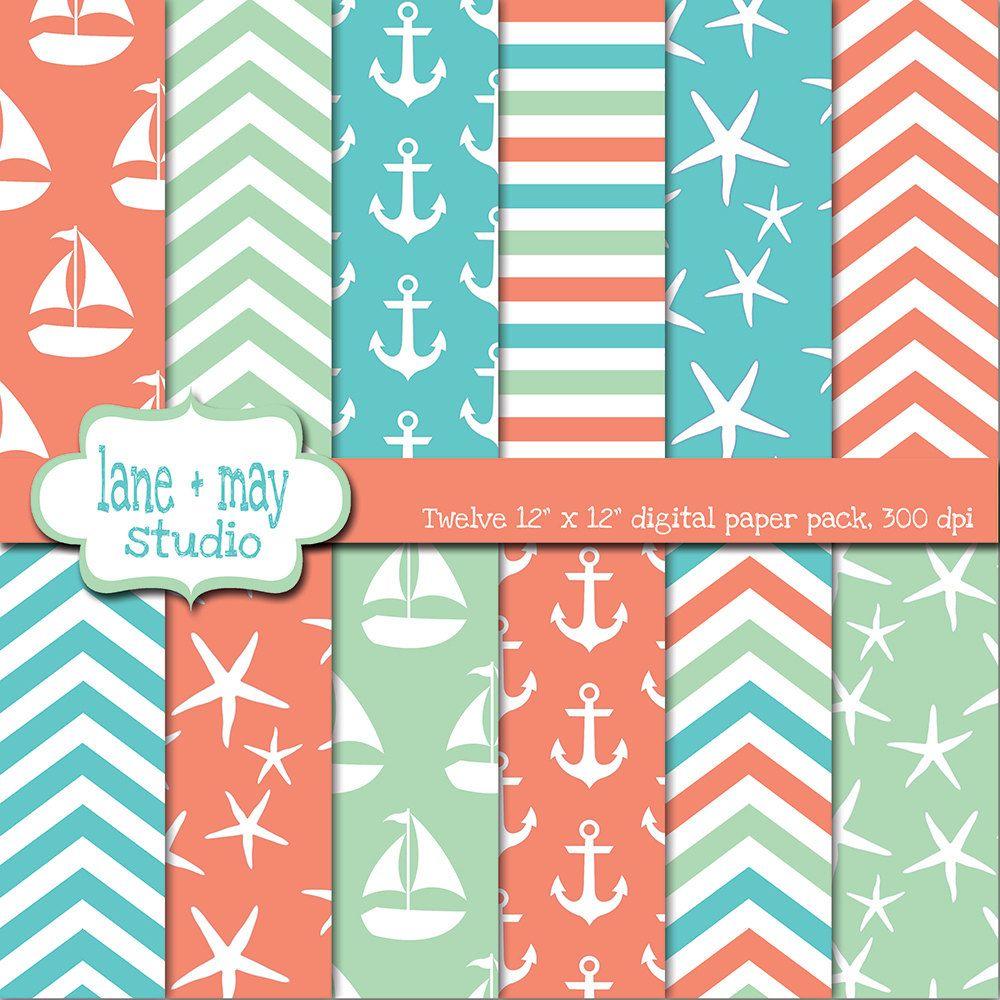 Aqua sea glass and coral nautical beach digital scrapbook papers 7 00 via