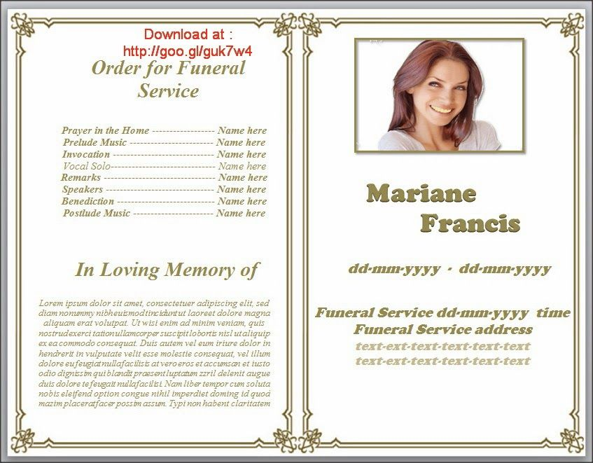 79 best Funeral Program Templates for MS Word to Download images - funeral obituary template