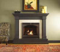 Kenwood wood mantel by Heat N Glo dark stain | Fireplace ...