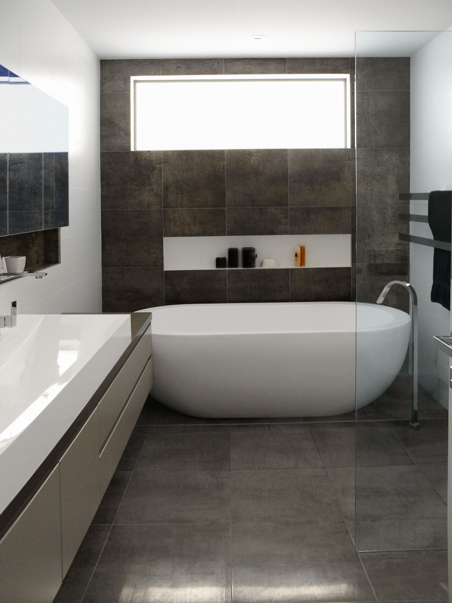 Grey Floor Tiles Bathroom Nice Oval Freestanding Soaker Bathtubs On Grey Tile Floors