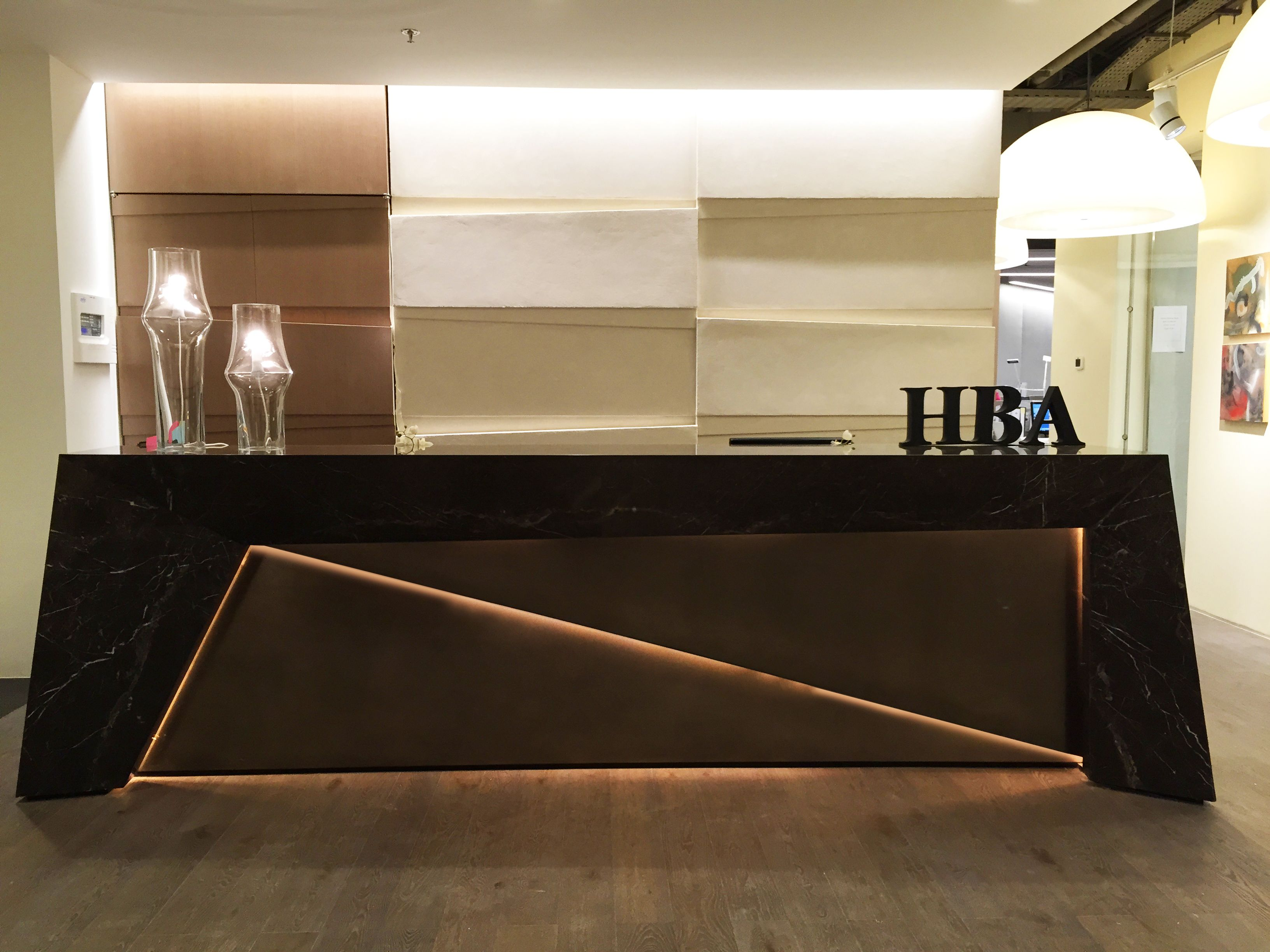Office Wall Design Hba Dubai Office Reception Desk And Walls Design By Me