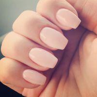 Short coffin shaped gel nails color is OPI Bubble Bath ...