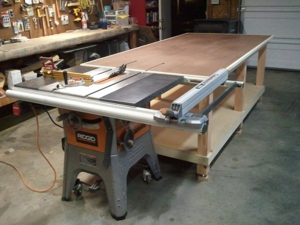 My 4x8 rolling work bench outfeed jpg woodworking