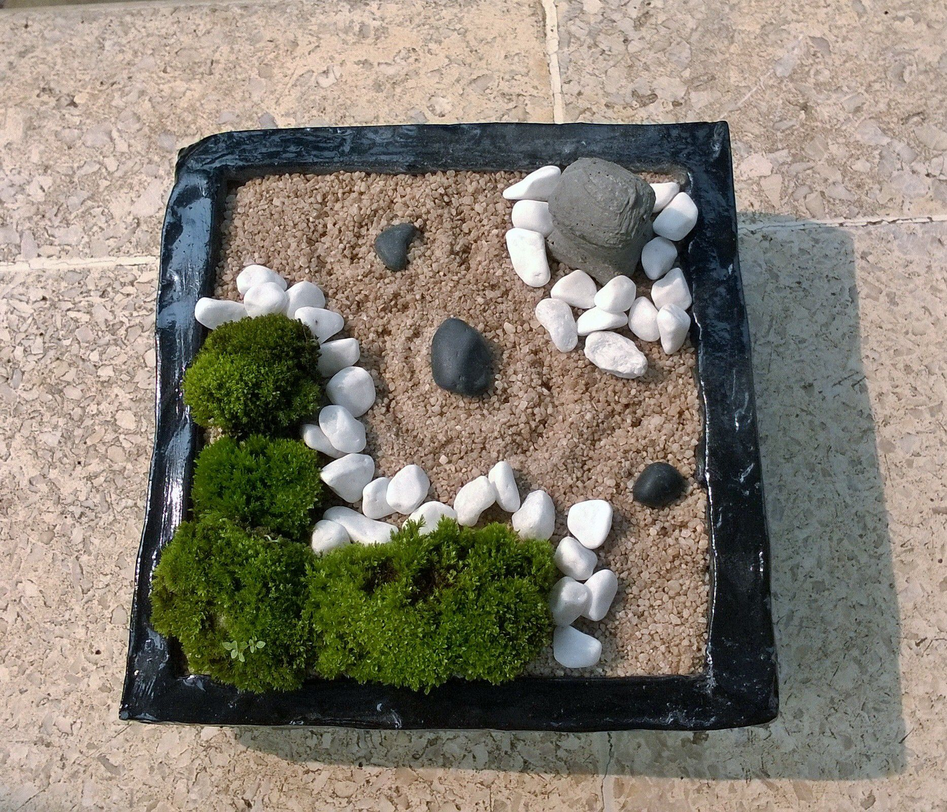 Indoor Zen Garden Ideas Mini Zen Garden With Nature Moss Cream Sand And White Stone