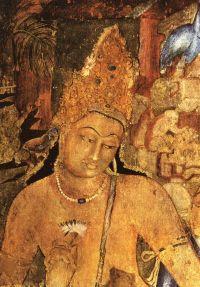Indian cave-wall-painting of Avalokitevara. Aja Caves ...