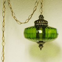 Vintage hanging light - hanging lamp - green globe - chain ...