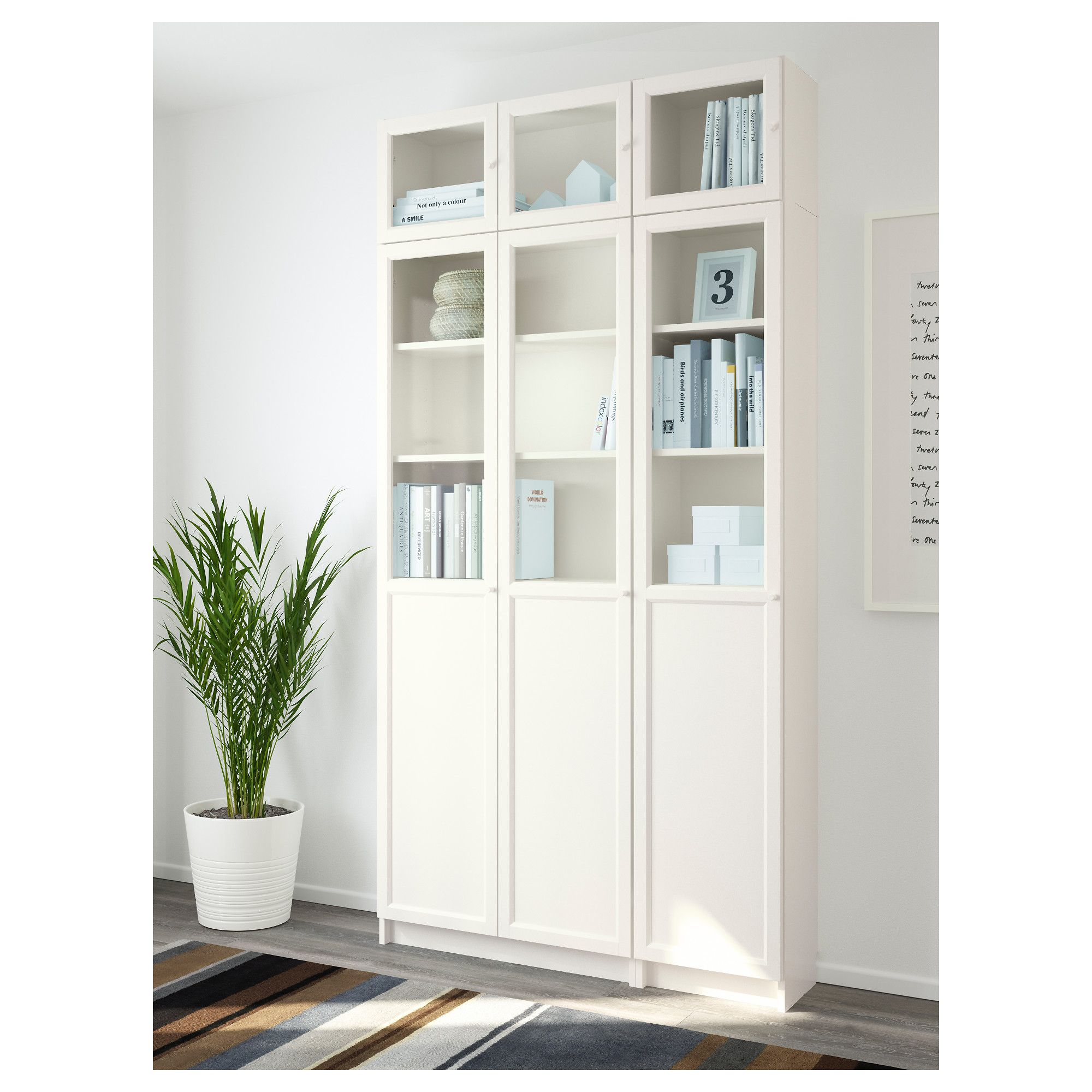 Ikea Billy Bookcase White Billy Oxberg Bookcase White Glass 120x237x30 Cm Ikea