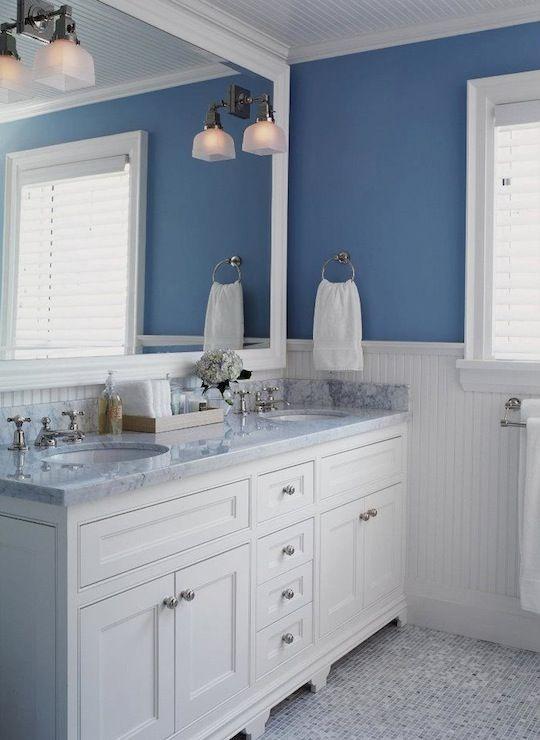 white bathrooms bathroom sconces, white and blue bathroom - beadboard bathroom ideas