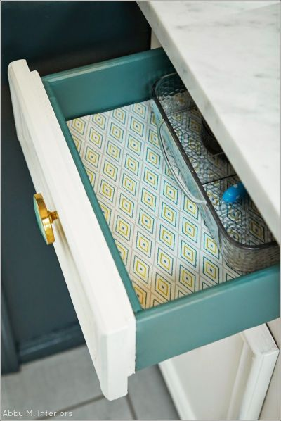 Abby M. Interiors. Paint the inside of the drawer for a pop of color and line with pretty paper ...