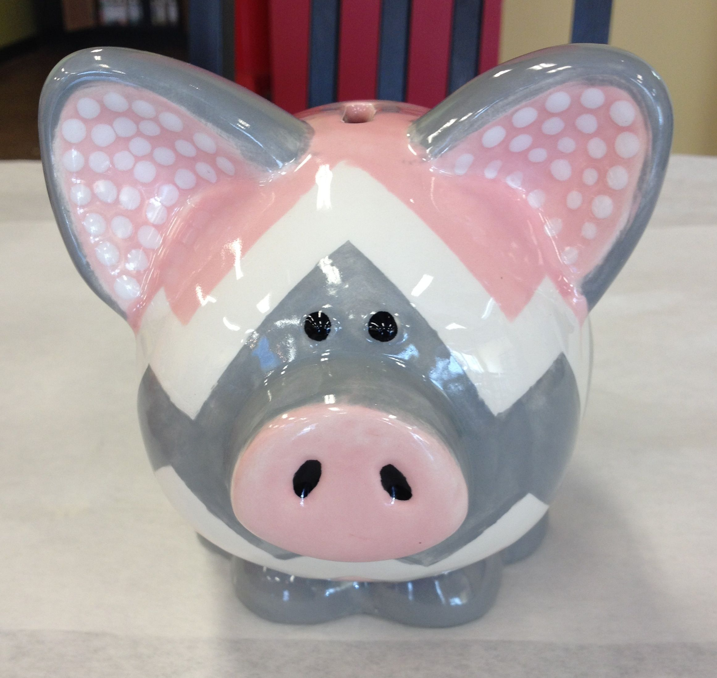 Piggy Bank Idea Customer Piece Pink And Gray Chevron Piggy Bank