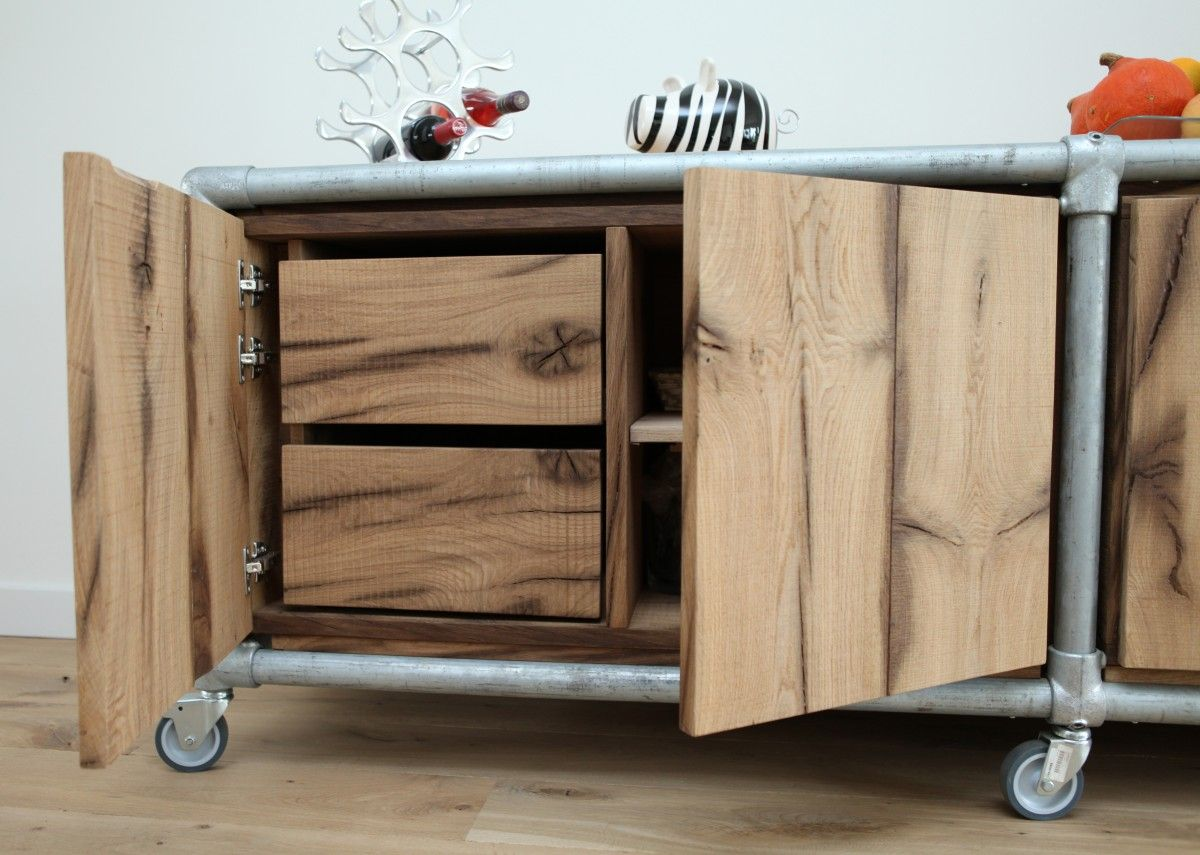 Fitting Furniture Old Oak Sideboard Or Combined With Galvanized Kee Klamp