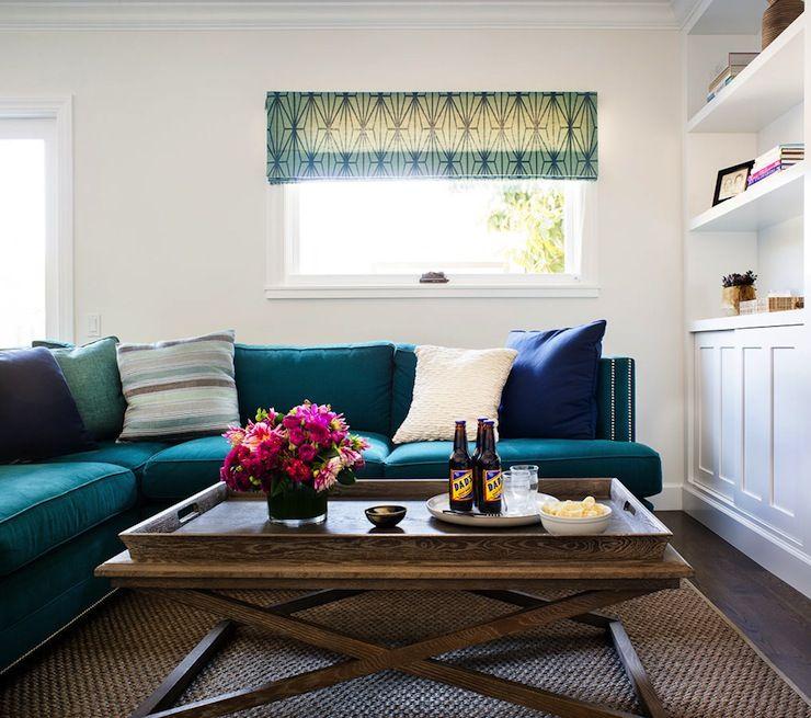 living rooms - Kelly Wearstler Katana Jade\/Teal roman shade - teal living room furniture