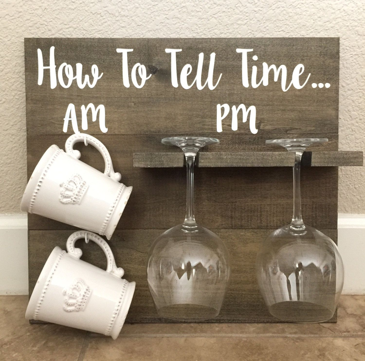 Funny Wine Bottle Holders How To Tell Time Coffee Mug And Wine Glass Holder Sign By