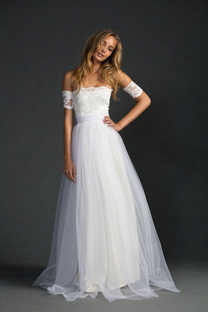plain wedding dresses Ivory Strapless A Line Lace And Tulle Floor Length Simple Wedding Dress Fashideas com