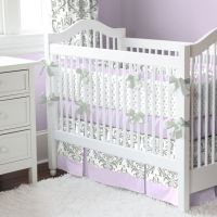 Lilac and Gray Traditions Damask Nursery Collection | Baby ...