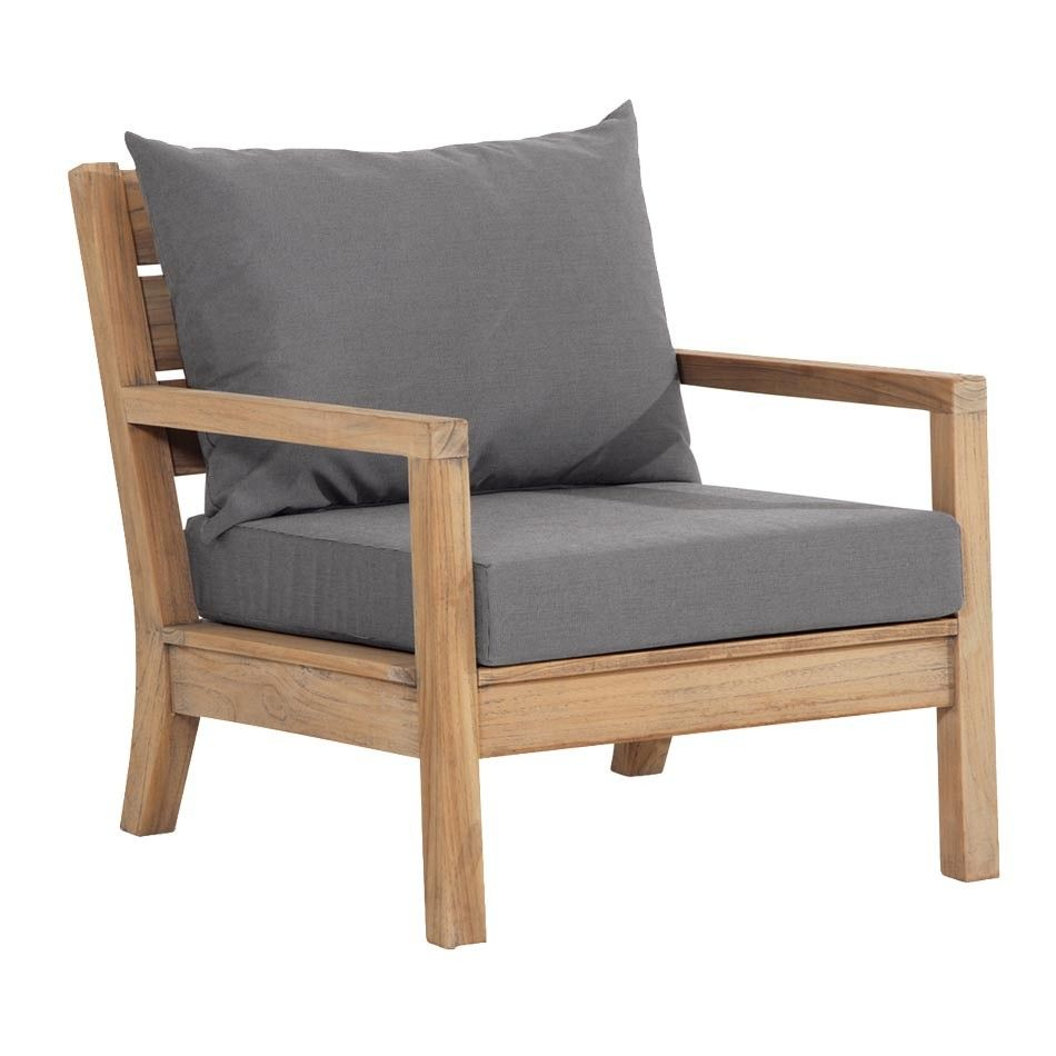 Garten Loungemöbel Best Moretti Sessel Teak Lounge Grey-wash - Loungesessel